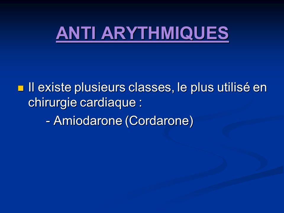 ANTI ARYTHMIQUES Il existe plusieurs classes, le plus utilisé en chirurgie cardiaque : - Amiodarone (Cordarone)