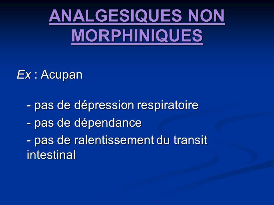 ANALGESIQUES NON MORPHINIQUES