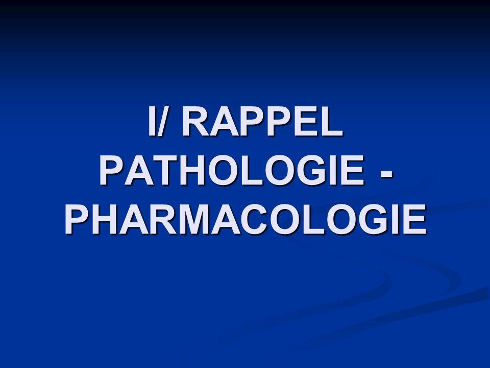 I/ RAPPEL PATHOLOGIE - PHARMACOLOGIE