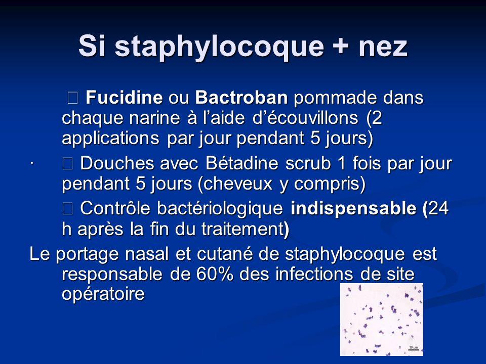 Si staphylocoque + nez  Fucidine ou Bactroban pommade dans chaque narine à l'aide d'écouvillons (2 applications par jour pendant 5 jours)