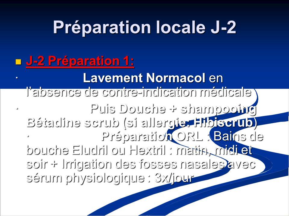 Préparation locale J-2 J-2 Préparation 1: