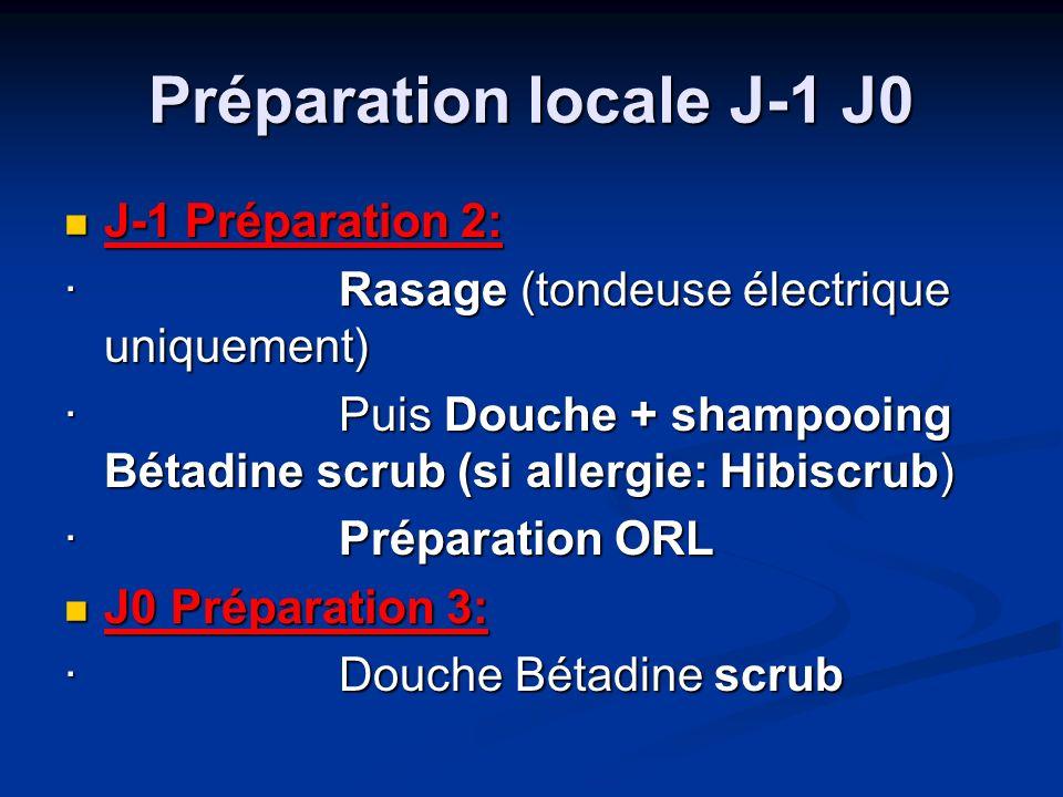 Préparation locale J-1 J0