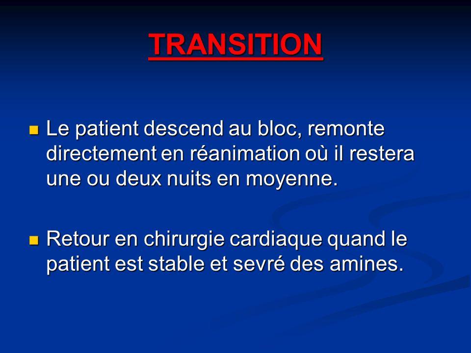 TRANSITION Le patient descend au bloc, remonte directement en réanimation où il restera une ou deux nuits en moyenne.