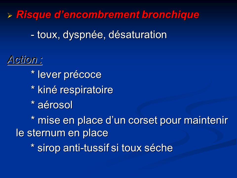 Risque d'encombrement bronchique