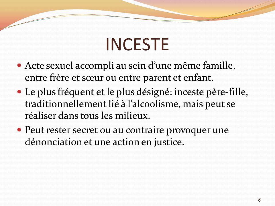 INCESTEActe sexuel accompli au sein d'une même famille, entre frère et sœur ou entre parent et enfant.