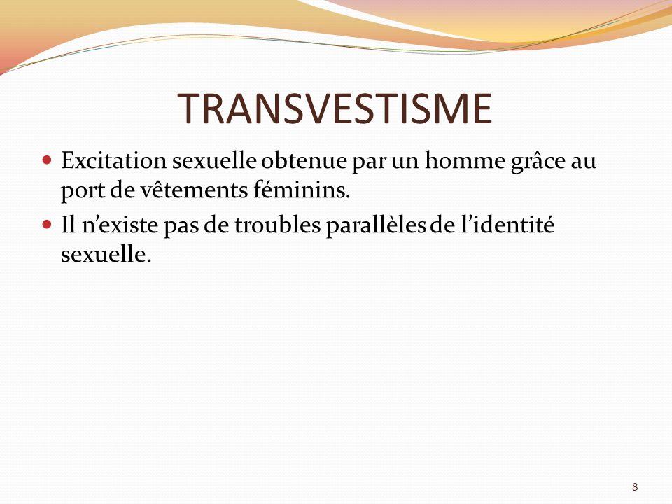 TRANSVESTISME Excitation sexuelle obtenue par un homme grâce au port de vêtements féminins.