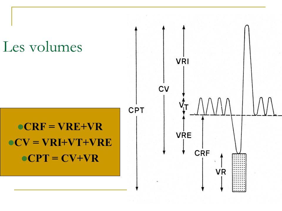 Les volumes CRF = VRE+VR CV = VRI+VT+VRE CPT = CV+VR