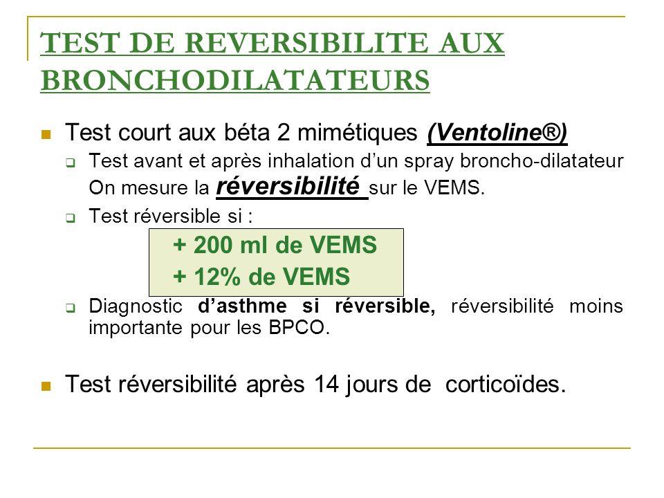 TEST DE REVERSIBILITE AUX BRONCHODILATATEURS