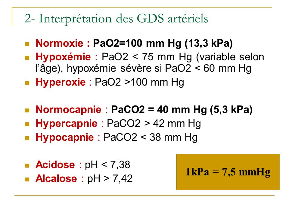 2- Interprétation des GDS artériels