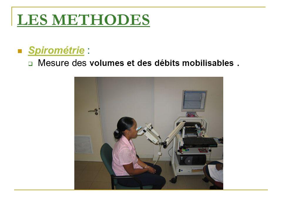 LES METHODES Spirométrie :