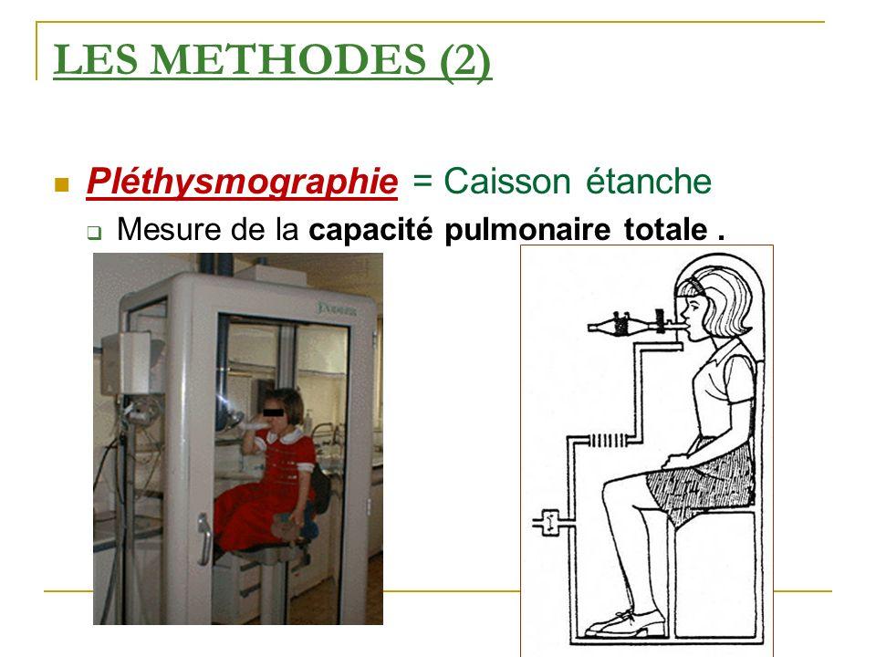 LES METHODES (2) Pléthysmographie = Caisson étanche