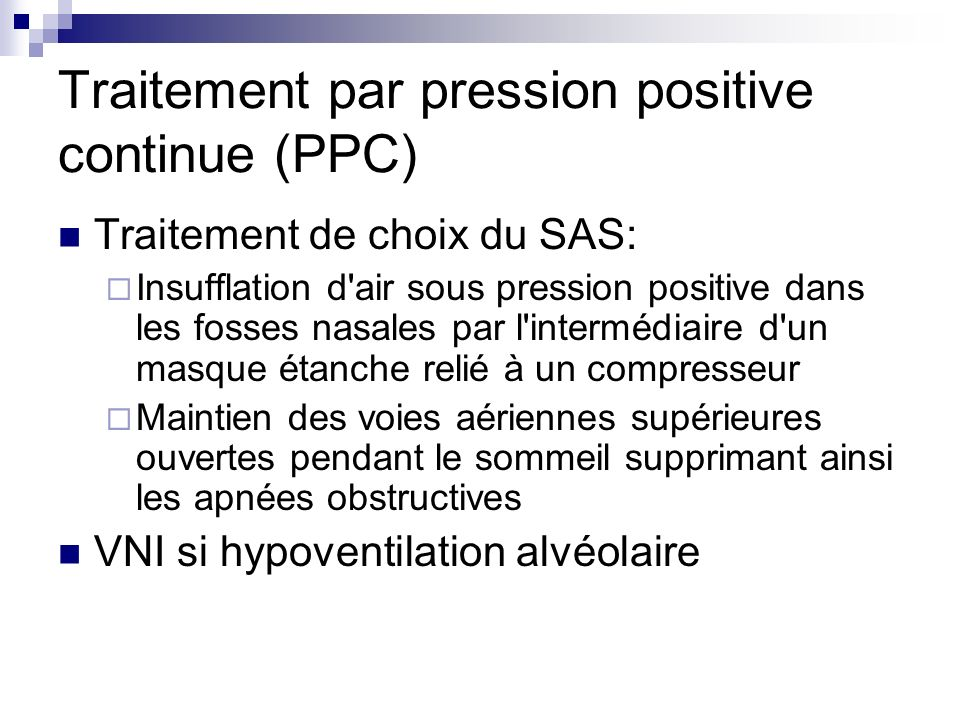 Traitement par pression positive continue (PPC)