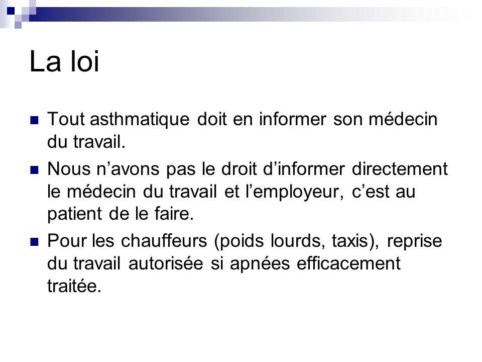 La loi Tout asthmatique doit en informer son médecin du travail.