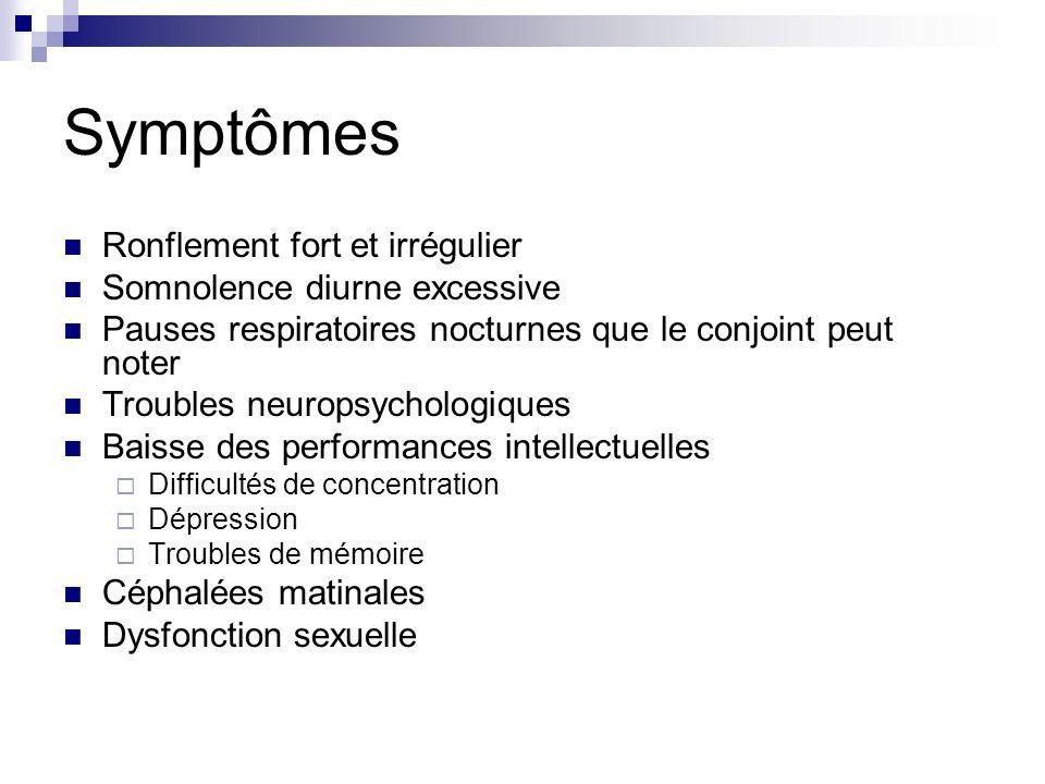 Symptômes Ronflement fort et irrégulier Somnolence diurne excessive