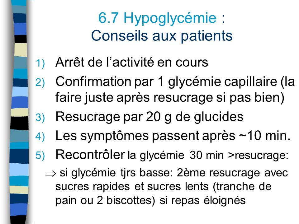 6.7 Hypoglycémie : Conseils aux patients