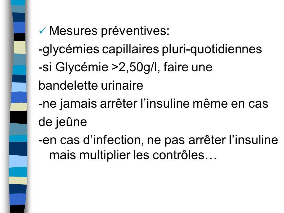 Mesures préventives: -glycémies capillaires pluri-quotidiennes. -si Glycémie >2,50g/l, faire une. bandelette urinaire.