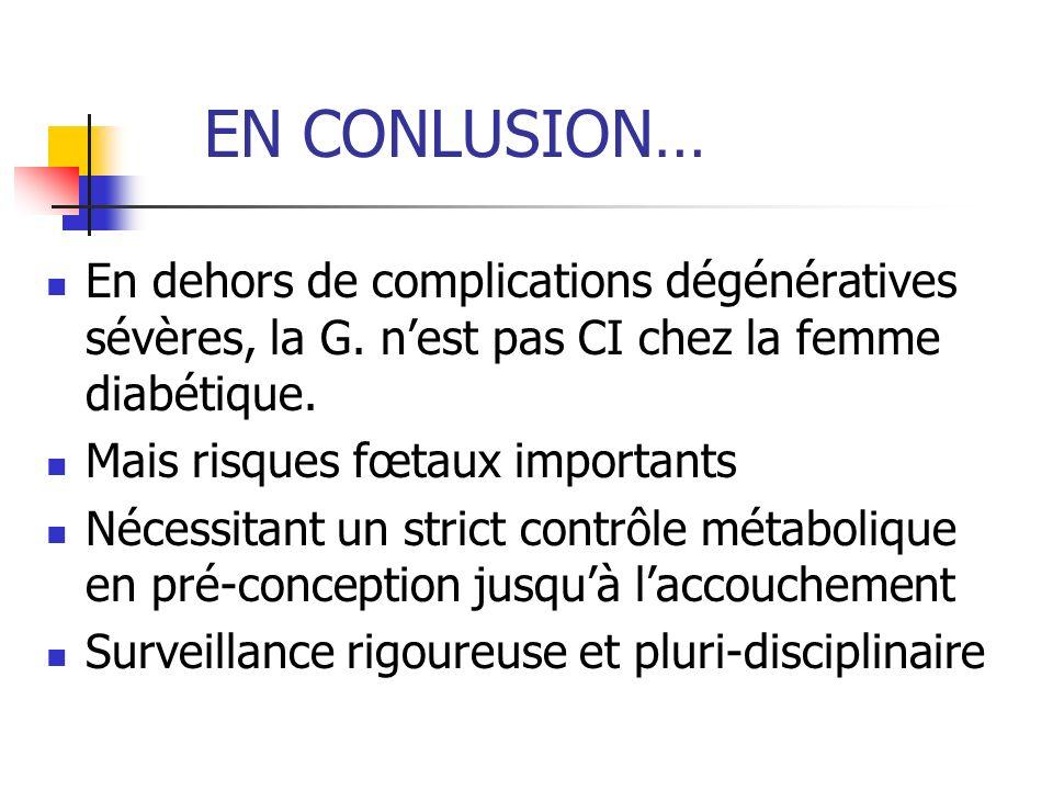 EN CONLUSION… En dehors de complications dégénératives sévères, la G. n'est pas CI chez la femme diabétique.