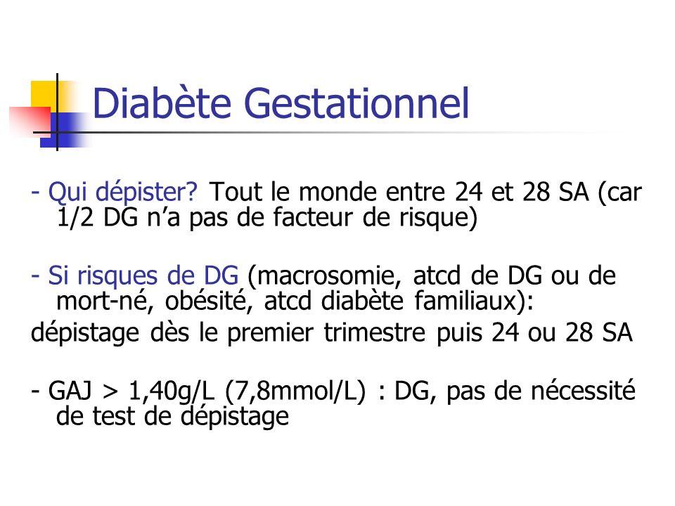Diabète Gestationnel - Qui dépister Tout le monde entre 24 et 28 SA (car 1/2 DG n'a pas de facteur de risque)