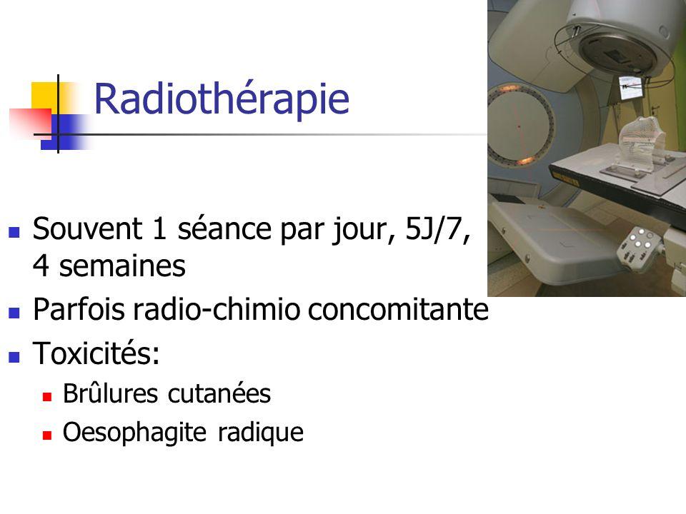 Radiothérapie Souvent 1 séance par jour, 5J/7, 4 semaines