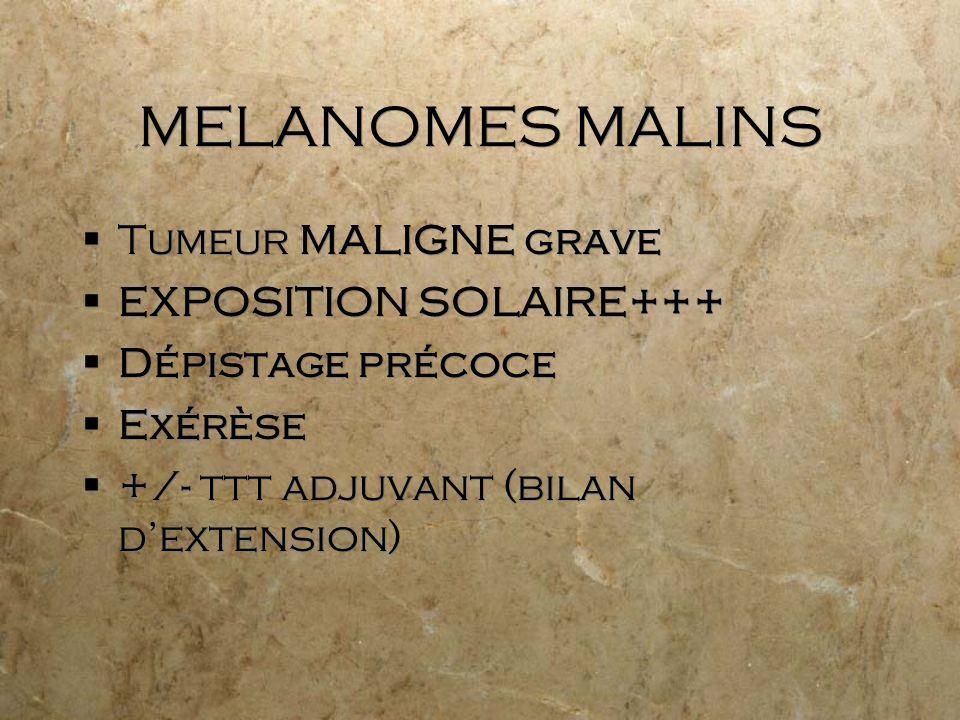 MELANOMES MALINS Tumeur MALIGNE grave EXPOSITION SOLAIRE+++