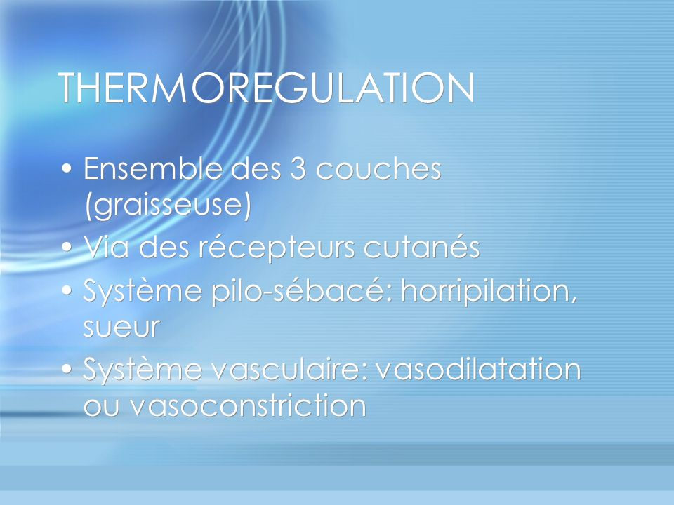 THERMOREGULATION Ensemble des 3 couches (graisseuse)