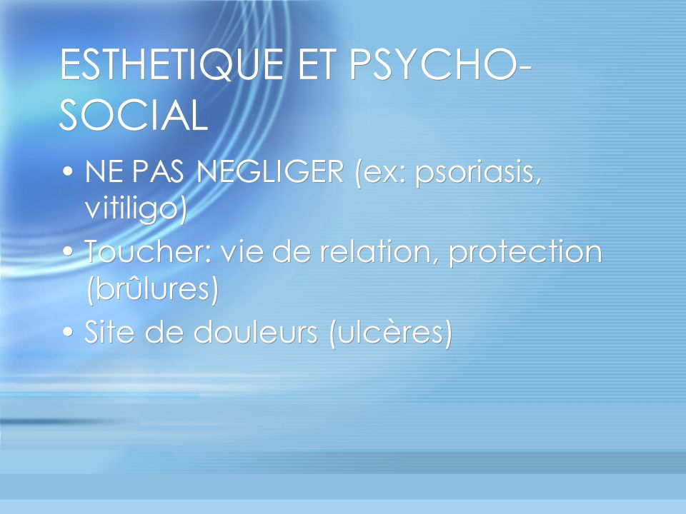 ESTHETIQUE ET PSYCHO-SOCIAL