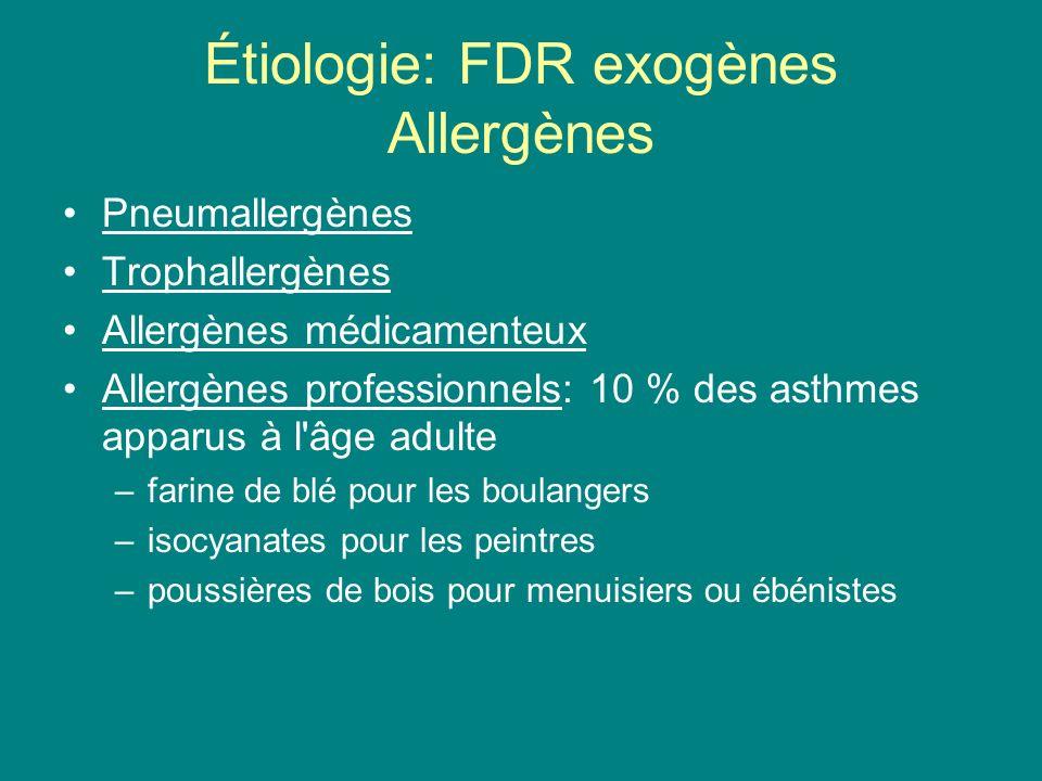 Étiologie: FDR exogènes Allergènes