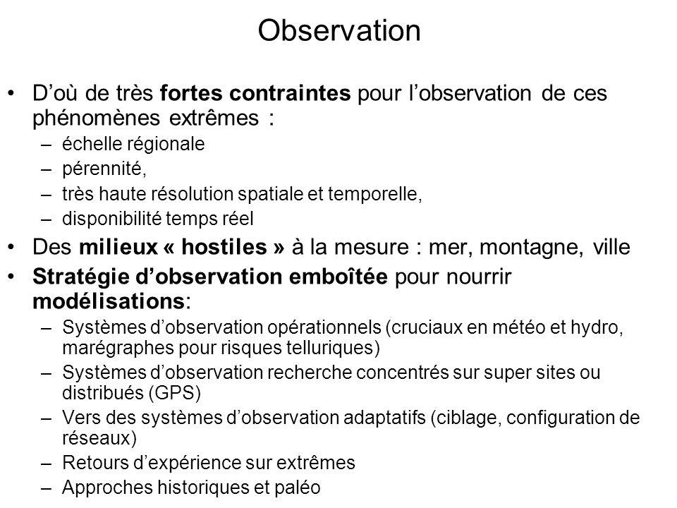 Observation D'où de très fortes contraintes pour l'observation de ces phénomènes extrêmes : échelle régionale.