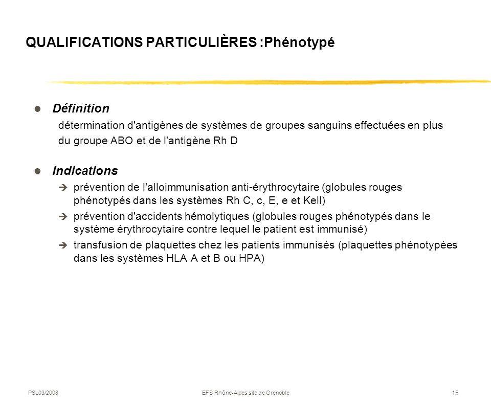 QUALIFICATIONS PARTICULIÈRES :Phénotypé