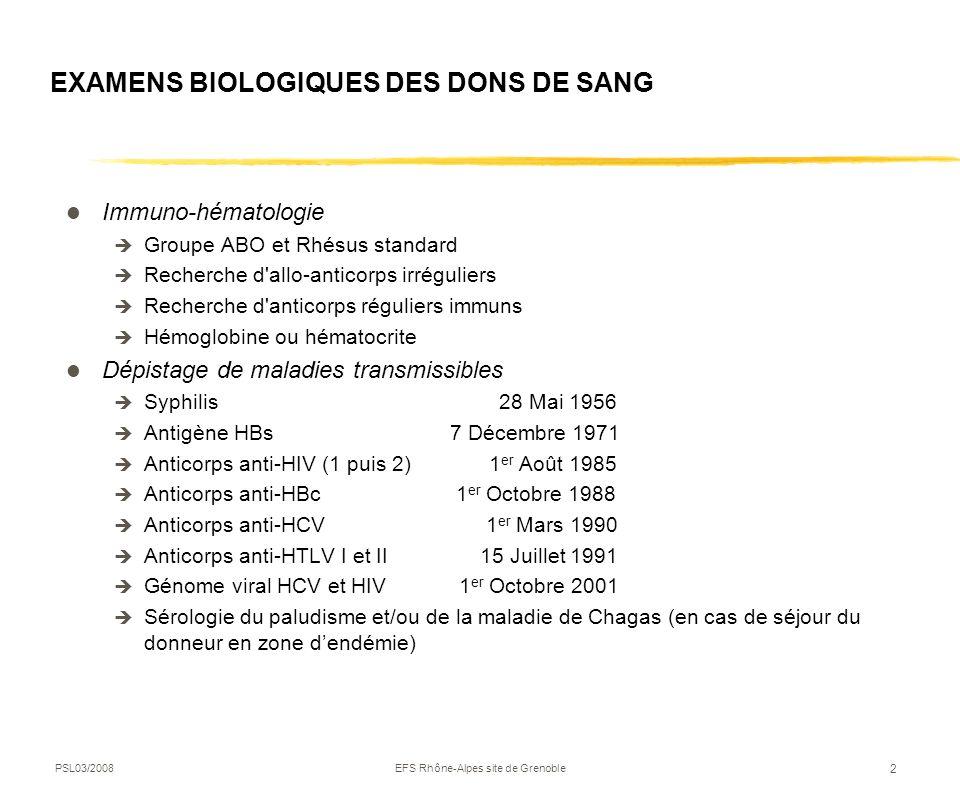 EXAMENS BIOLOGIQUES DES DONS DE SANG