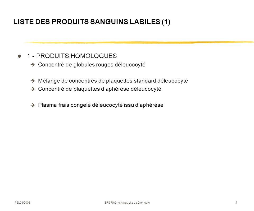 LISTE DES PRODUITS SANGUINS LABILES (1)