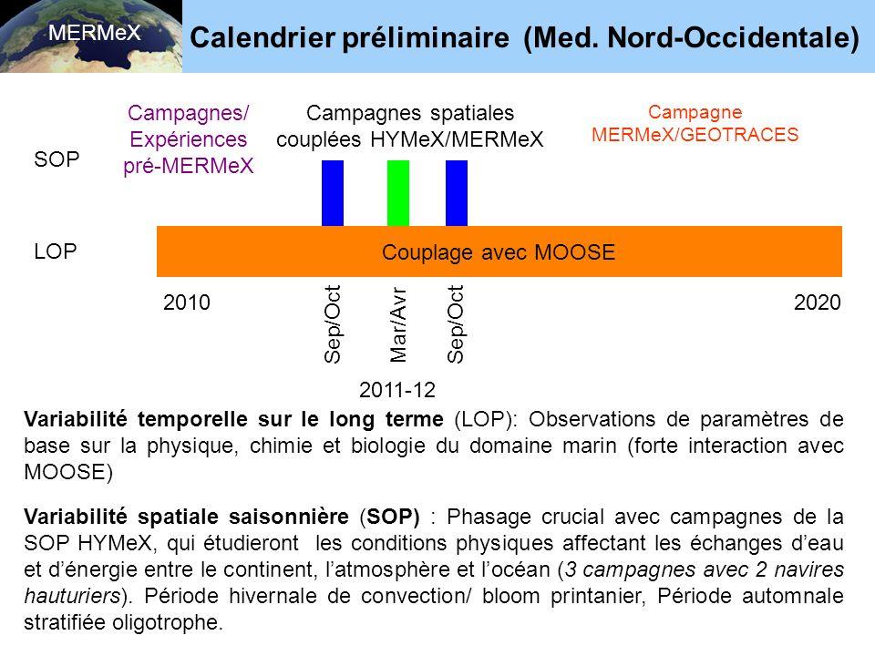 Calendrier préliminaire (Med. Nord-Occidentale)