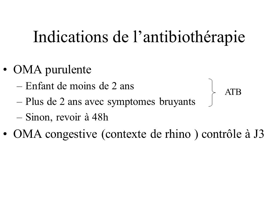 Indications de l'antibiothérapie