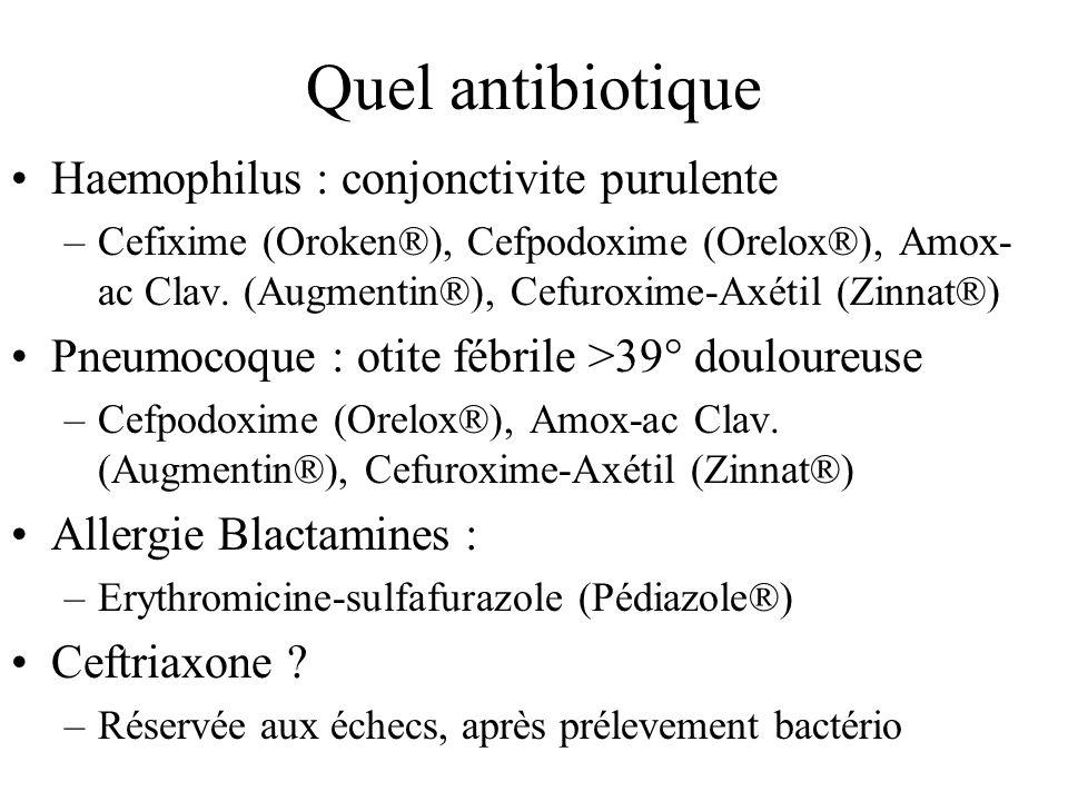 Quel antibiotique Haemophilus : conjonctivite purulente