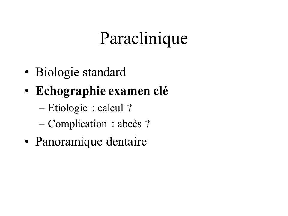 Paraclinique Biologie standard Echographie examen clé