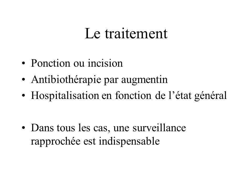 Le traitement Ponction ou incision Antibiothérapie par augmentin
