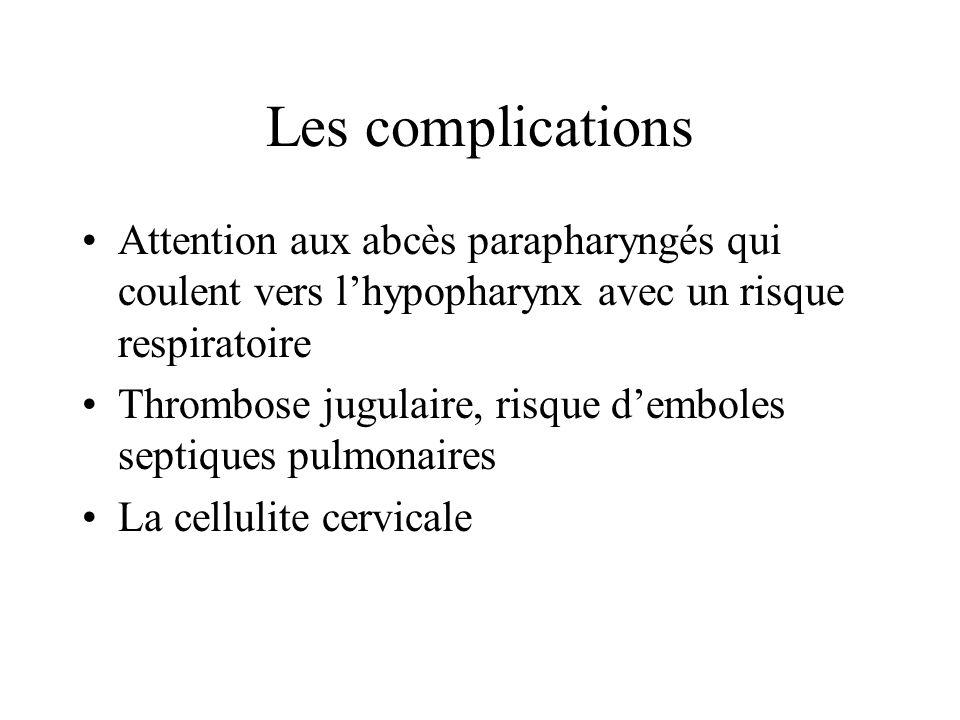 Les complications Attention aux abcès parapharyngés qui coulent vers l'hypopharynx avec un risque respiratoire.
