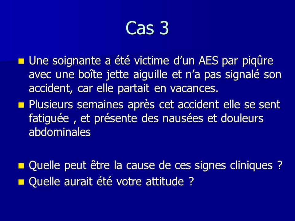 Cas 3 Une soignante a été victime d'un AES par piqûre avec une boîte jette aiguille et n'a pas signalé son accident, car elle partait en vacances.