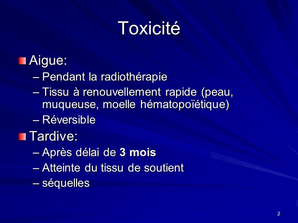 Toxicité Aigue: Tardive: Pendant la radiothérapie