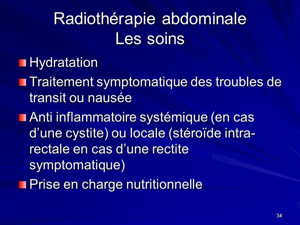 Radiothérapie abdominale Les soins