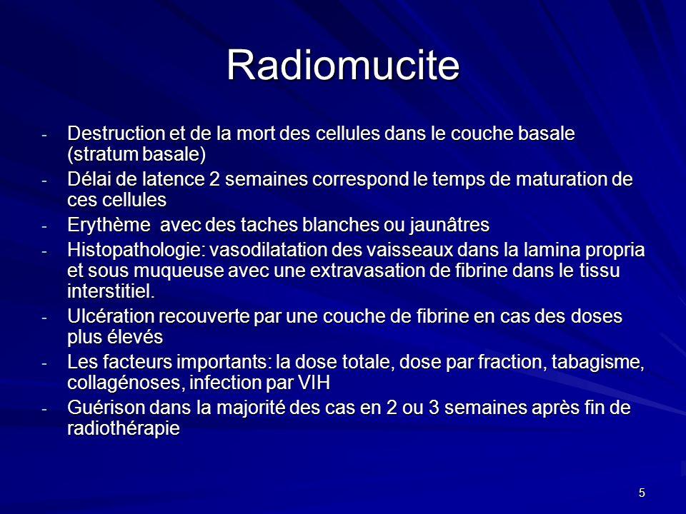 Radiomucite Destruction et de la mort des cellules dans le couche basale (stratum basale)