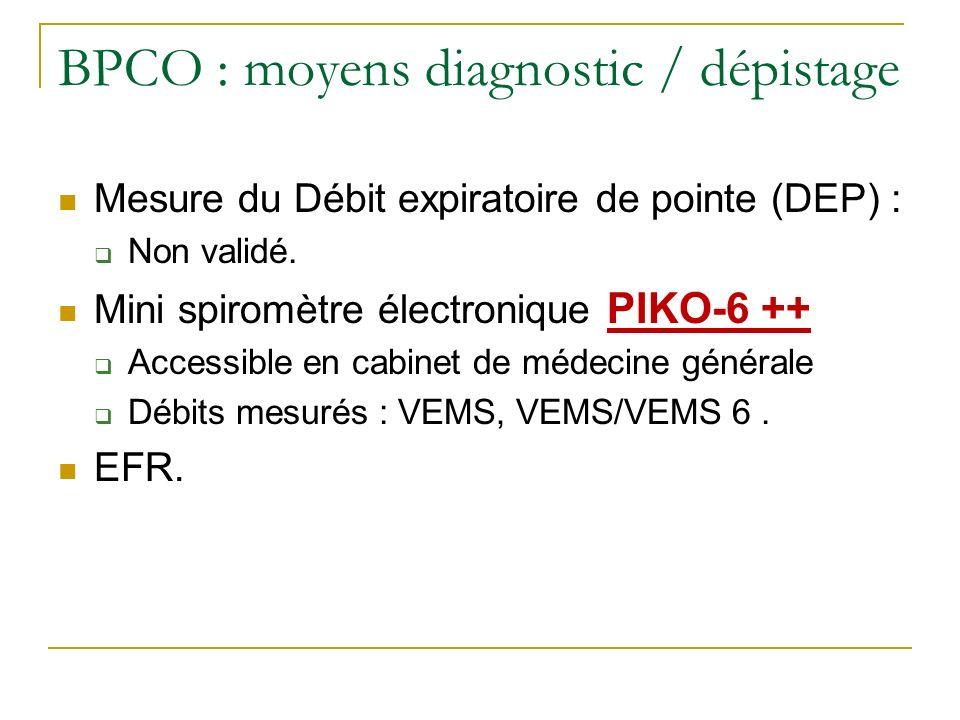 BPCO : moyens diagnostic / dépistage