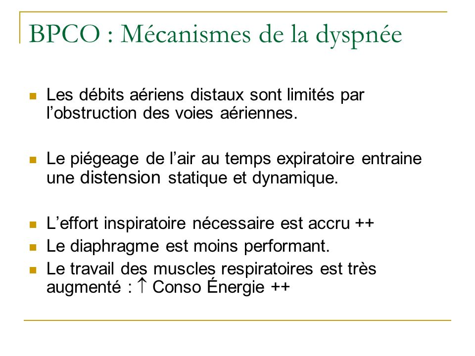 BPCO : Mécanismes de la dyspnée