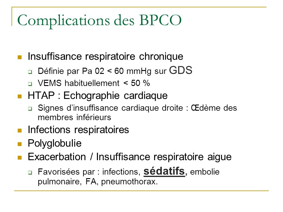 Complications des BPCO