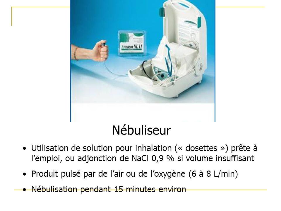 Nébuliseur Utilisation de solution pour inhalation (« dosettes ») prête à l'emploi, ou adjonction de NaCl 0,9 % si volume insuffisant.