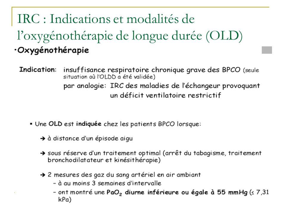 IRC : Indications et modalités de l'oxygénothérapie de longue durée (OLD)