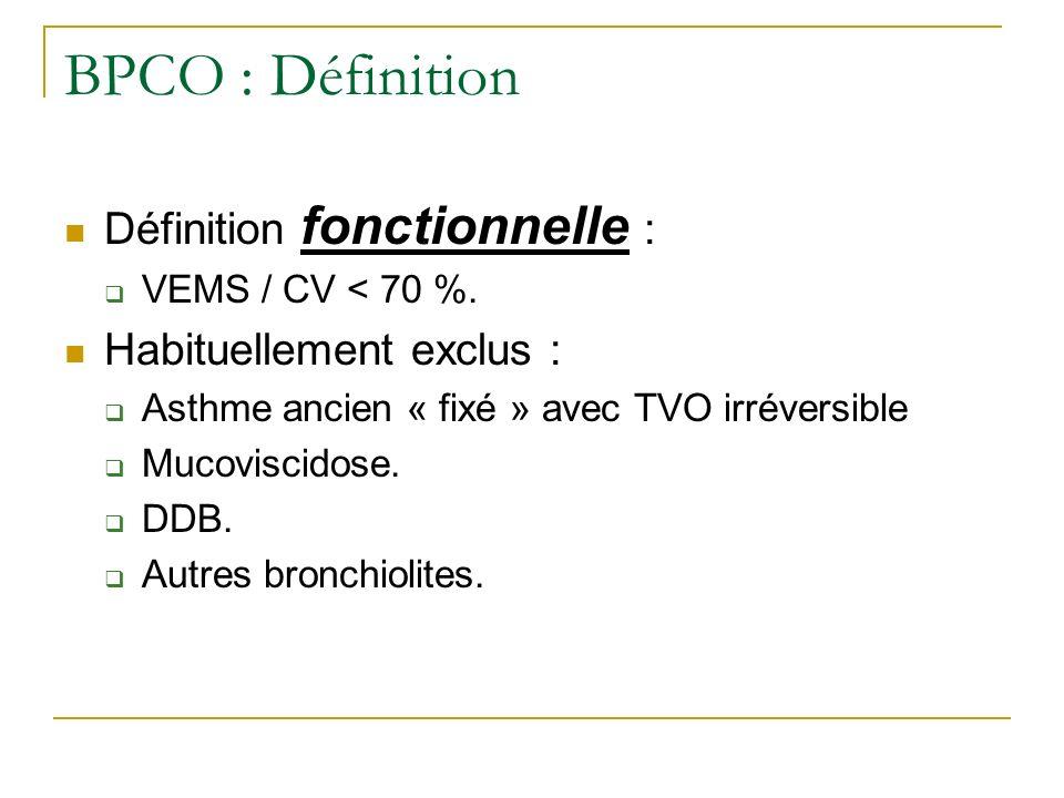 BPCO : Définition Définition fonctionnelle : Habituellement exclus :