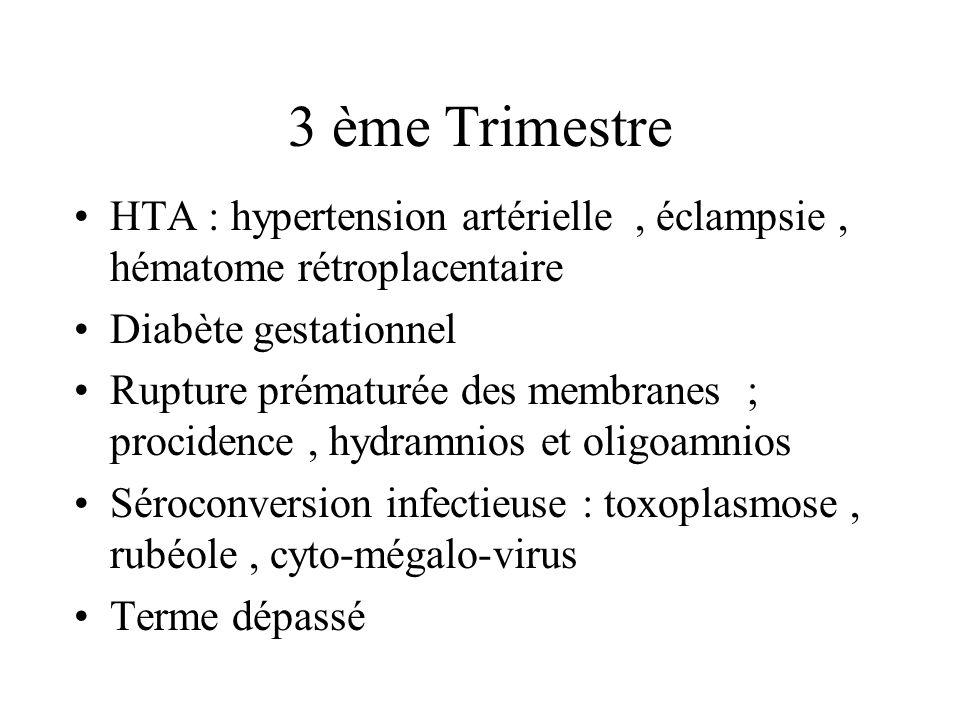 3 ème TrimestreHTA : hypertension artérielle , éclampsie , hématome rétroplacentaire. Diabète gestationnel.