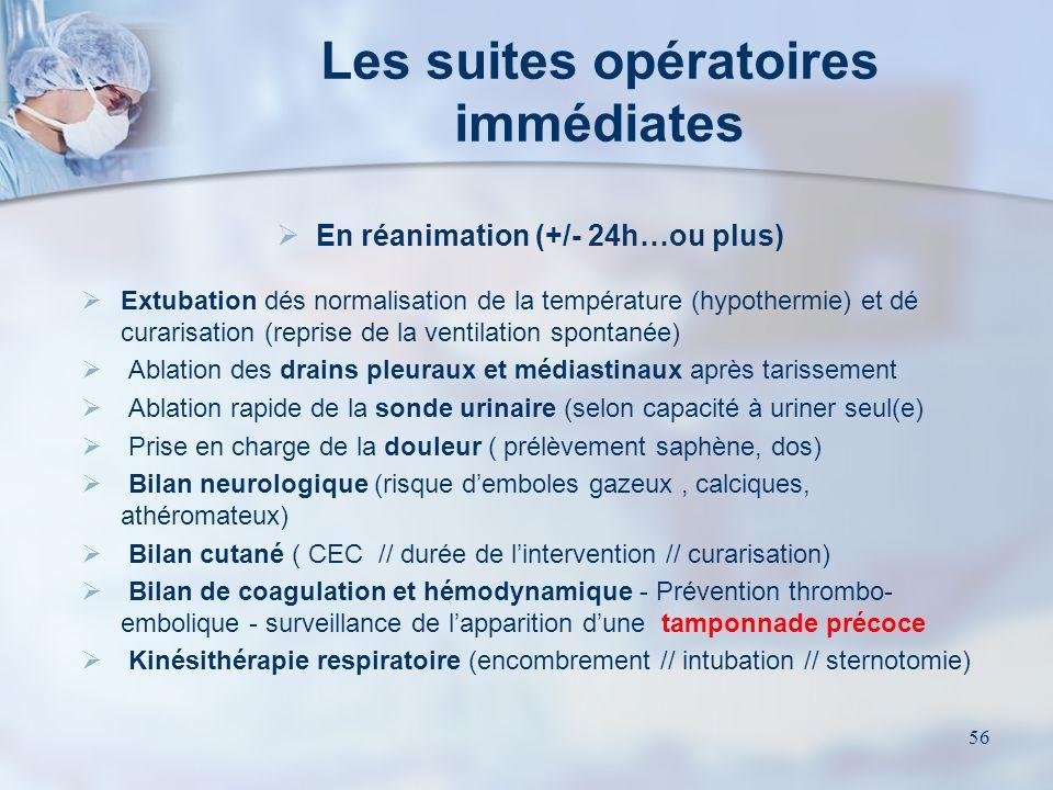 Les suites opératoires immédiates
