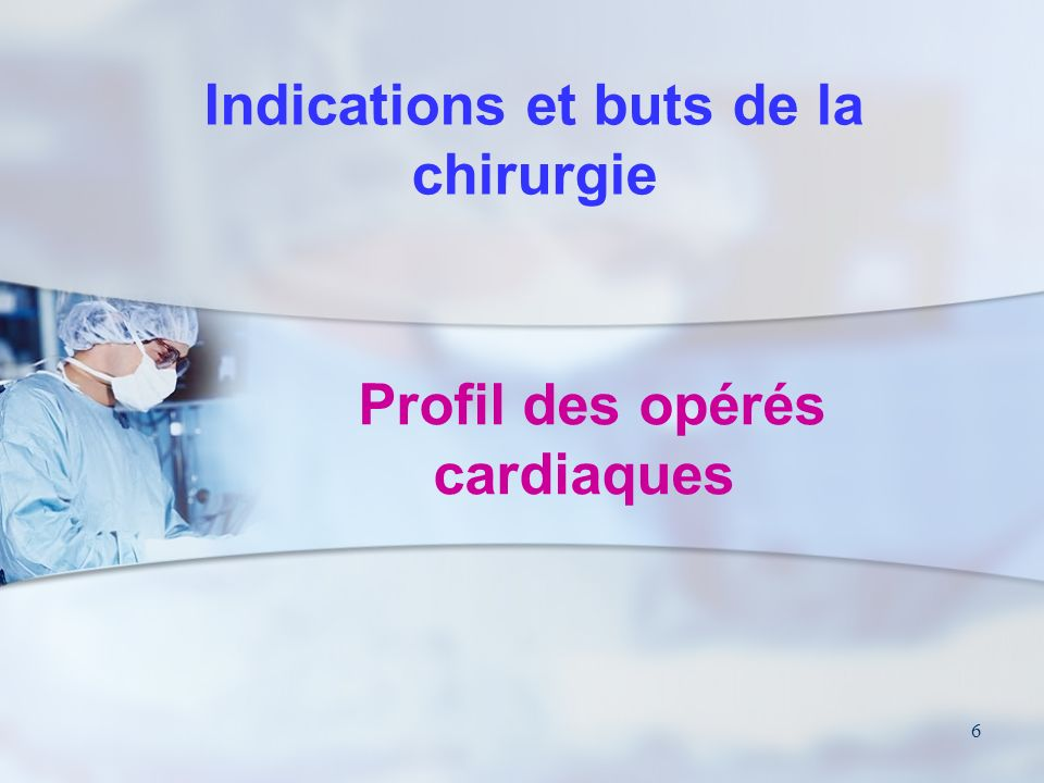 Profil des opérés cardiaques